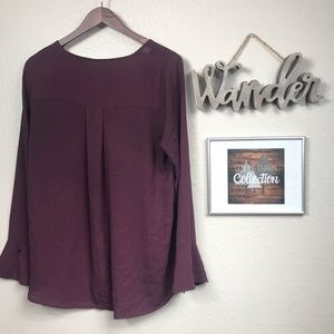 Pleione Tops - Pleione Long Bell Sleeve Purple